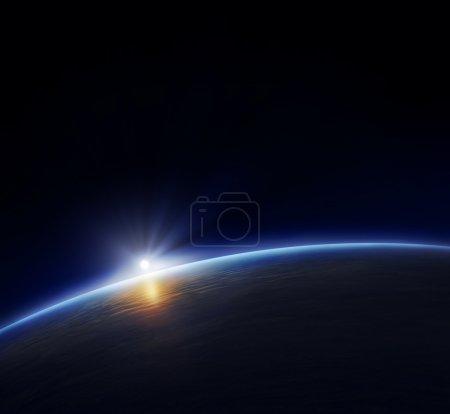 kugle, lys, blå, baggrund, render, view - B4958937