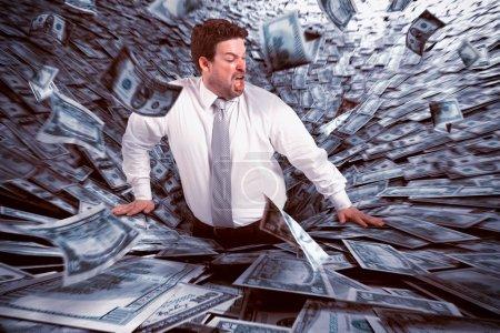 penge, forretning, finansiel, fare, falde, sort - B90957624